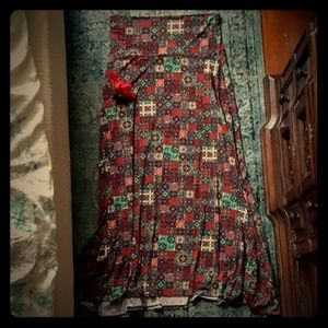 LulaRoe Patchwork Maxi Skirt M